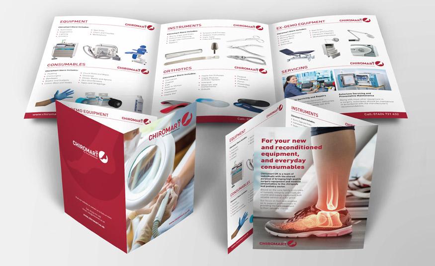 Six page roll-fold brochure