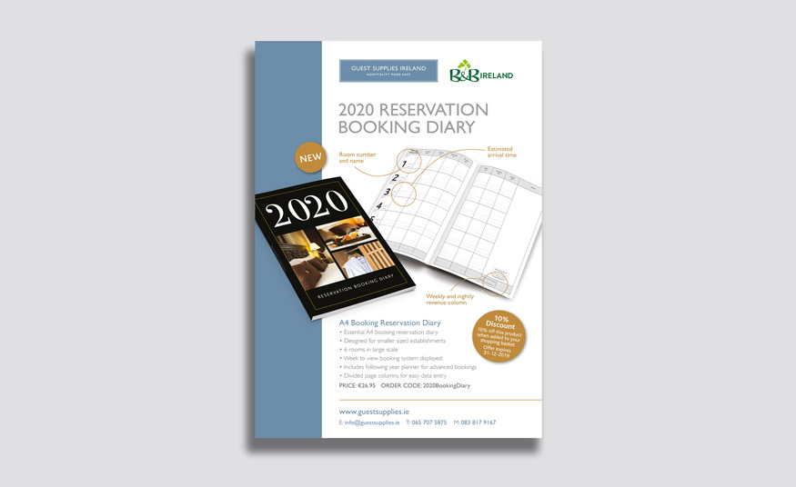 A4 advert for reservation diary