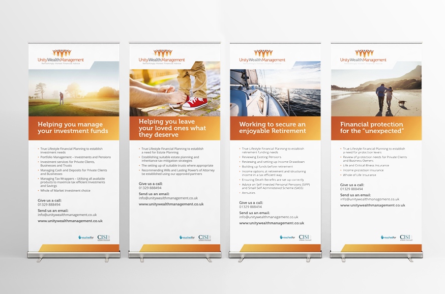 Unity Wealth roller banners